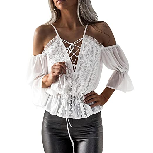 41f4c874e50 Image Unavailable. Image not available for. Color  Kangma Women Short Sleeve  Off Shoulder Lace Chiffon Blouse Casual Shirt Tank Tops White