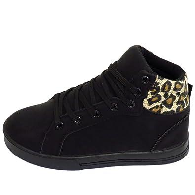 9ff5e2a0e30 Girls Kids Childrens Black Leopard Lace Trainers Flat Boots Shoes Sizes UK  10- 5  Amazon.co.uk  Shoes   Bags