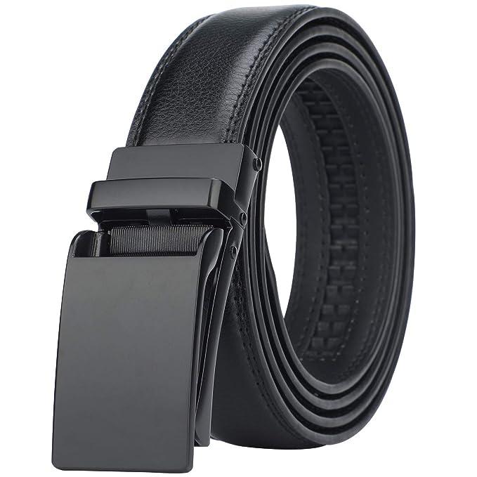6ee258eb1956 Lavemi men s Ratchet Comfort Click Slide Leather Dress Belt with Aumatic  Buckle
