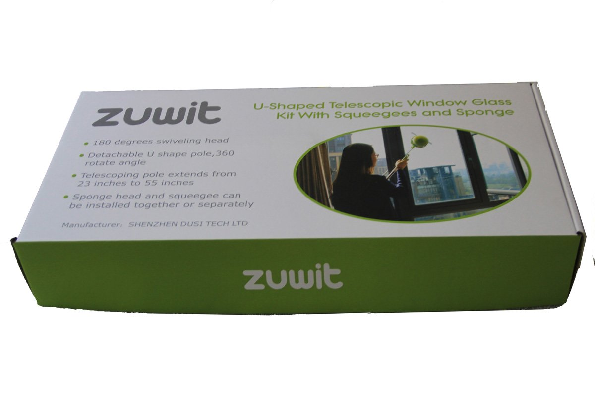 Zuwit Telescopic Window Cleaner Double Faced Glass Cleaning Kit Extending Wash Head with Pole,squeegees and Sponges
