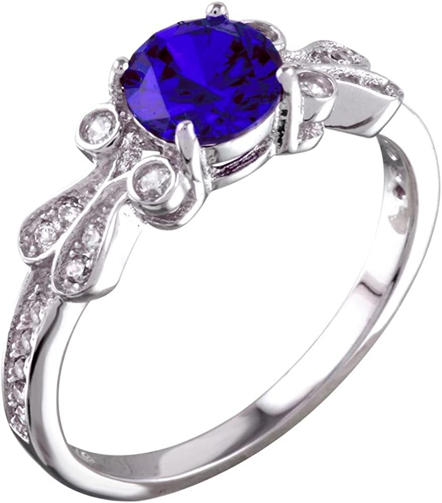 Princess Kylie Round Clear Center Cubic Zirconia Decorative Ring Rhodium Plated Sterling Silver