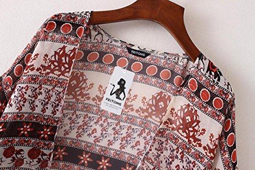 Clode® Femmes Floral Print Chiffon Loose Shawl Kimono Cardigan Top Cover Up Shirt Blouse