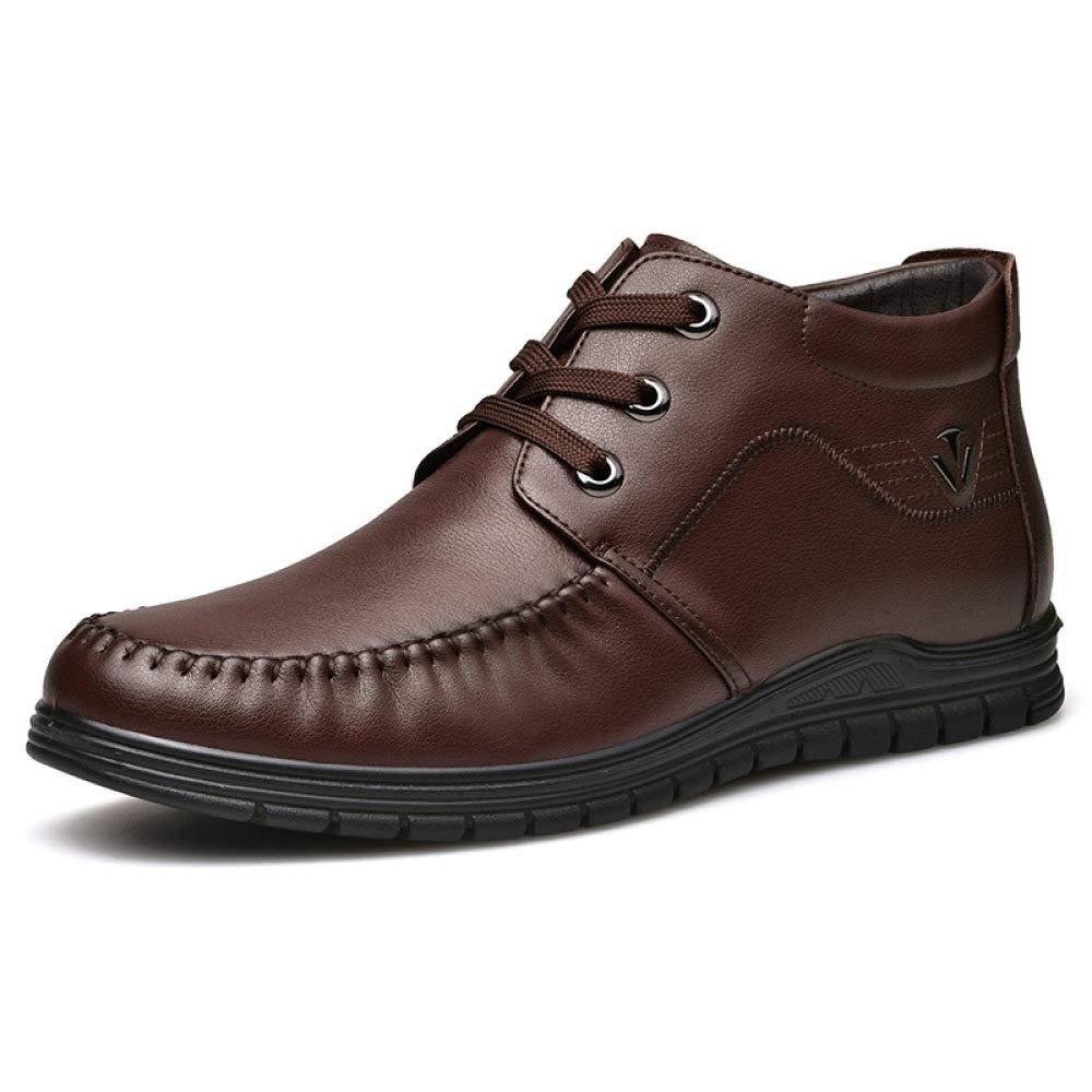 WANG-LONG Schuhe Herren Martin Stiefel Winter Plus Samt Warme Business Baumwolle Leder Rutschfeste Reißverschluss Mode High-Top,braun-42