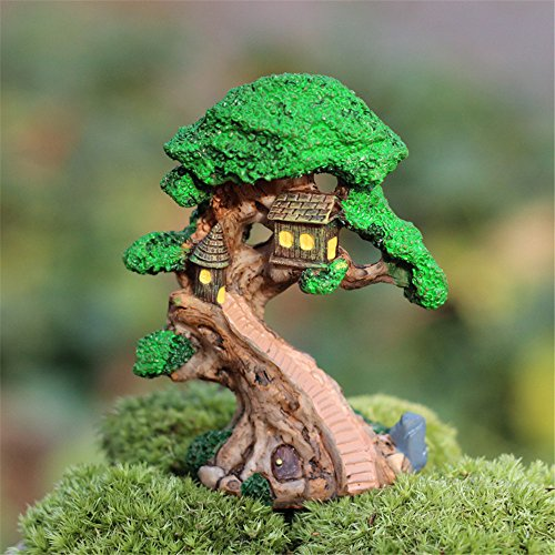 Danmu Fairy Garden Tree With Mini Tree House Miniature Plant Pots Bonsai Craft Micro Landscape DIY Decor (House Plant Bonsai)