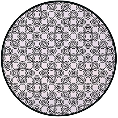 Chair Line Select Shower (Printing Round Rug,Geometric Circle Decor,Vortex Spirals Polygonal Rotated Lines Artsy Trippy Chord Design Mat Non-Slip Soft Entrance Mat Door Floor Rug Area Rug For Chair Living Room,Grey White)