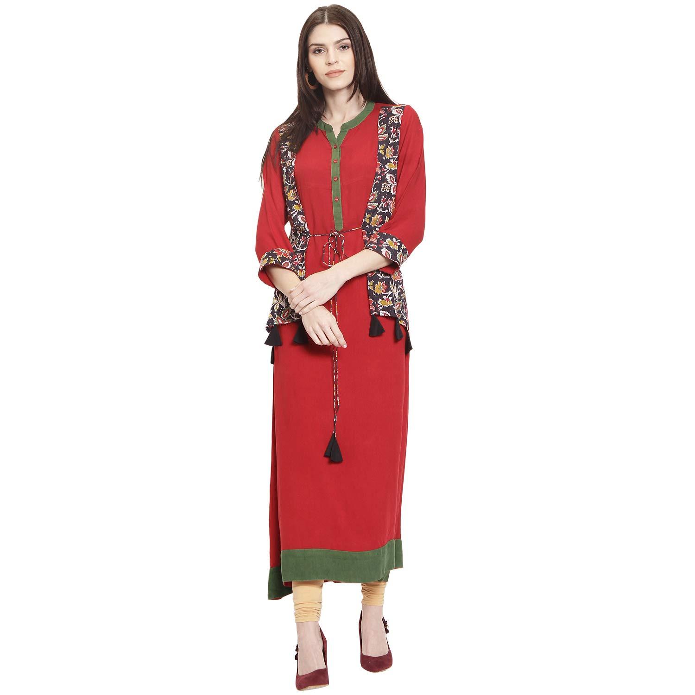 Solid A-Line Kurta Red Women Rayon Mandarin Collar 3//4 Sleeve Party Wear kurta