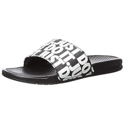 Nike Men's Benassi Just Do It Print Slides (13, Black/White)   Sandals