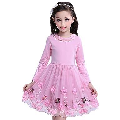 532bab7f09e05 BOZEVON Robe De Soirée Filles Fête Élégante pour Enfant Manches Longues  Dentelle Coton Robe de Princesse