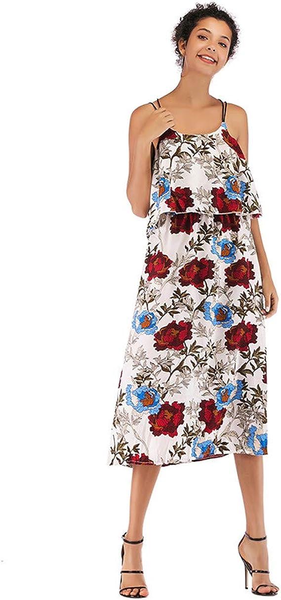 Vestidos Mujer Casual Espalda Abierta Estampado de Flores Material de Gasa Vestidos de Fiesta Suelto y cómodo Sexy y Elegante Fiesta en la Playa Sin Mangas Oficina Verano y otoño Marlene1988: Amazon.es: