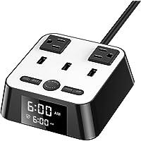 Ausein Cargador de Reloj Despertador, con 3 Puertos USB y 2 enchufes, estación de Carga del Cable de alimentación de 6 pies