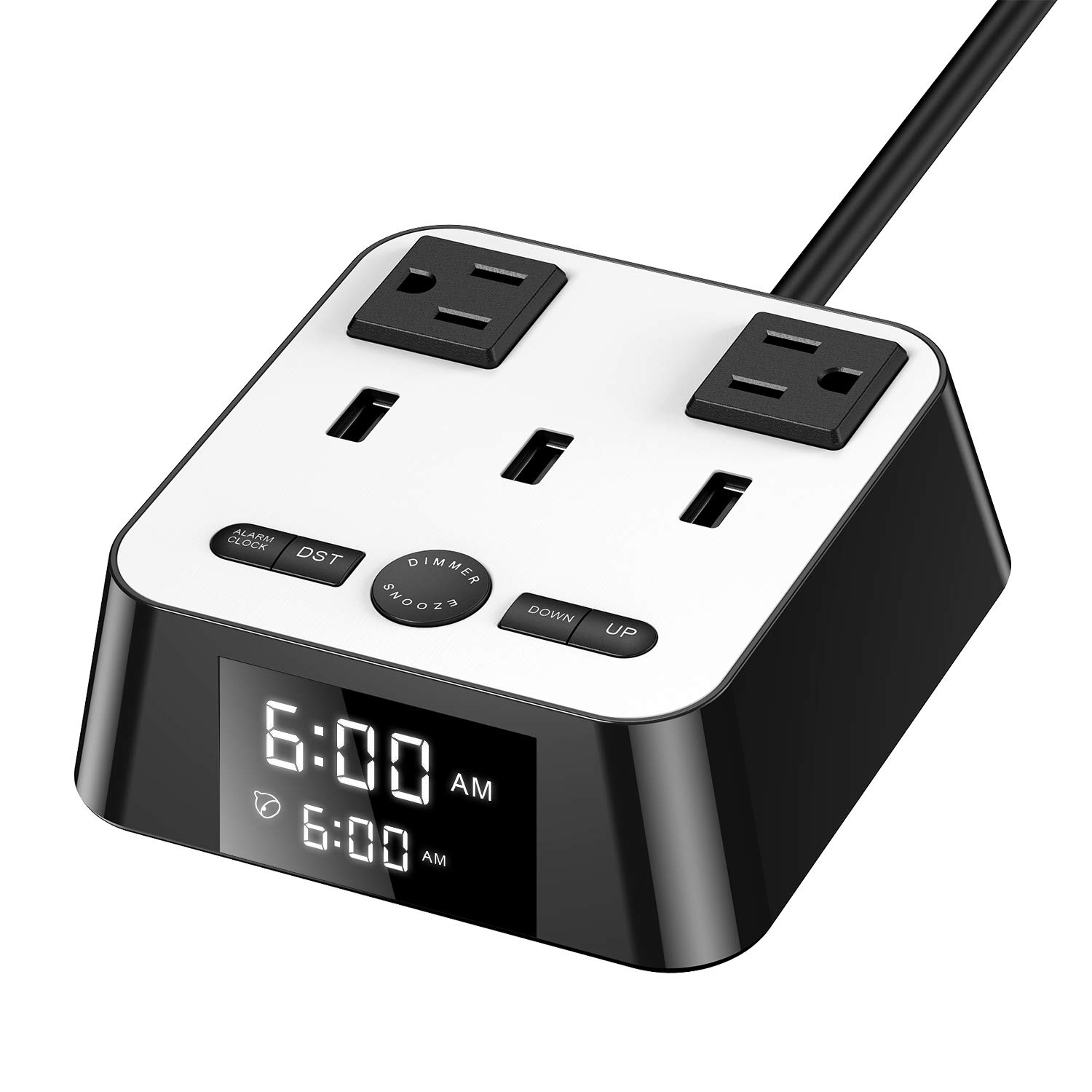 Yostyle Alarm Clock Charger w/3 USB Ports & 2 AC Outlets, 6ft Power Cord Charging Station Power Strip for Hotel Home Office,UL Tested (4 Dimmer Brightness,Snooze,ON/Off Switch,DST Time,Battery Backup)