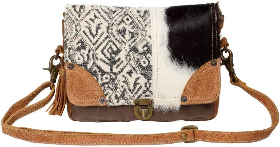 Myra Bag Mixed Upcycled Canvas Cowhide Leather Messenger Bag S-1214