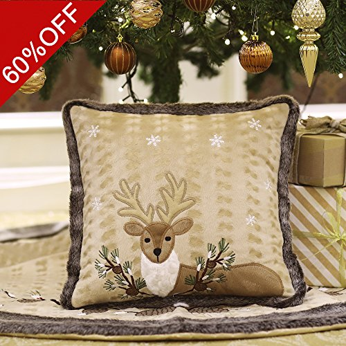 Valery Madelyn 16x16 Inch Woodland Velvet Christmas Pillow Cover, Embroidery Reindeer Design with Fur Trim Border,Themed with Tree Skirt(Not - Tree Skirt Woodland