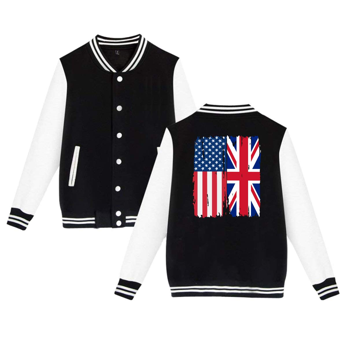 Unisex Baseball Jacket Uniform American British Flag Boys Girls Hoodie Sweatshirt Sweater Coat Back Print
