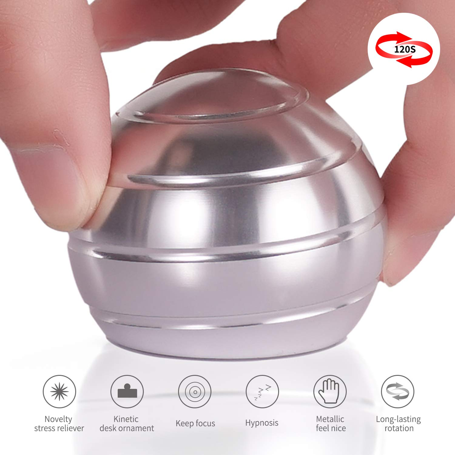 DESDK Office Stress Relief Gadgets Metal Kinetic Spinning Desk Toy New Version Fidget Toy Ball for Adults & Kids Anti Anxiety ADHD Autism Stress Reliever Inspire Creativity (Silver)