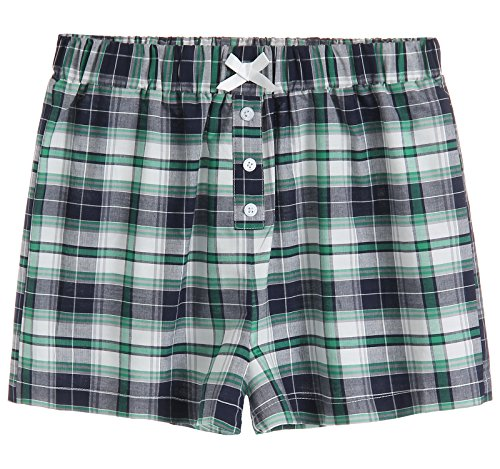 Latuza Women's Sleepwear Cotton Plaid Pajama Boxer Shorts 2X Navy & - Plaid Navy Boxers