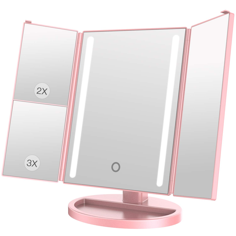 BESTOPE Miroir de Maquillage 1 x 2 x 3 x grossissement 24 Ampoules Miroir cosmétique éclairé Batterie Bloc d'alimentation USB 180 ° Rosa Gold