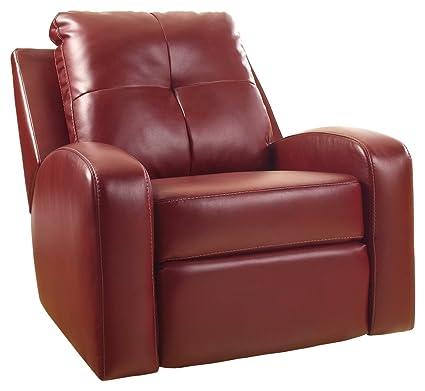 Ashley Furniture Signature Design   Mannix Swivel Recliner Chair   Manual  Glider Reclining Motion   Red