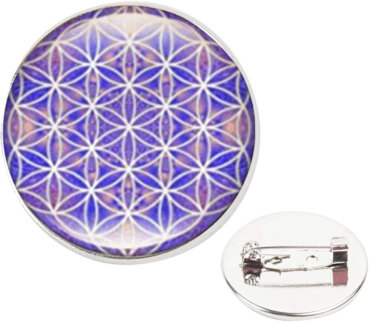 Pinback Buttons Badges Pins Geometric Purple Picture Mandala Flowers Lapel Pin Brooch Clip Trendy Accessory Jacket T-Shirt Bag Hat Shoe