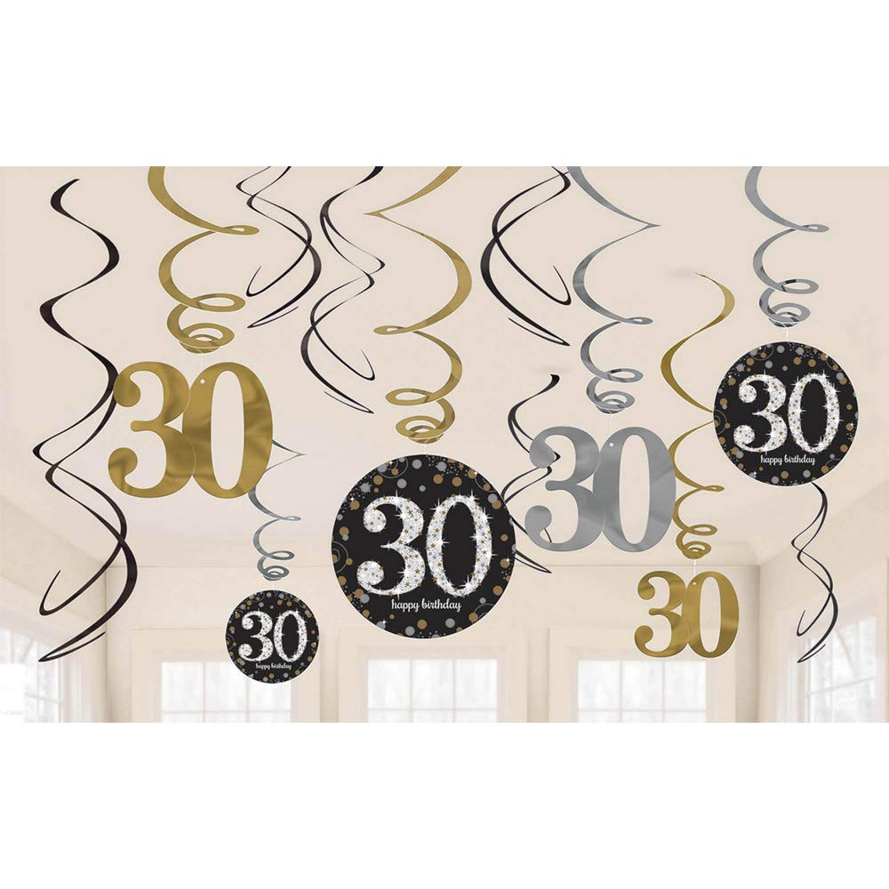 Amscan 670478 Gold Celebration 30th Swirl Decoration Value Pack Amscan Internatinal Ltd