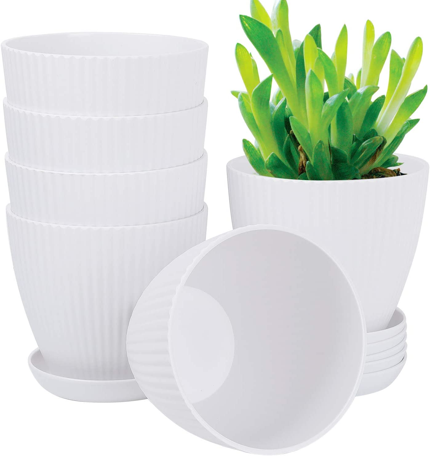 6 Inch Plant Flower Pots Indoor Plastic Planters with Drainage Hole Set of 6 Modern Planting Pots Great for Plants, Herbs, African Violets, Foliage Plants, Crafts Home Decorations (White)