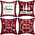 Christmas Pillow Covers 4 Decorative Pillow Covers 18x18 Linen Red Plaid Throw Pillow Covers Xmas Santa Holiday Pillow Covers 4pc Christmas Pillowcase