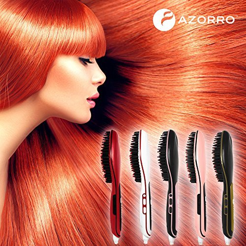 [PATENTED] Professional Ionic Best Hair Brush Straightener for Styling By Azorro, Detangling, Straightening, Frizz-Free Hair Care With Scalp Massage - LCD Ceramic Flat Iron Paddle Brush (Black/Pink)