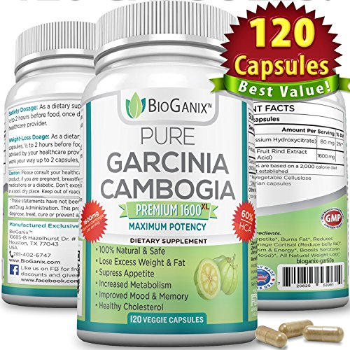 Bioganix Pure Garcinia Cambogia Extract Premium 1600mg XL with 60% HCA (120 Veggie Capsules – 2 Month Supply)