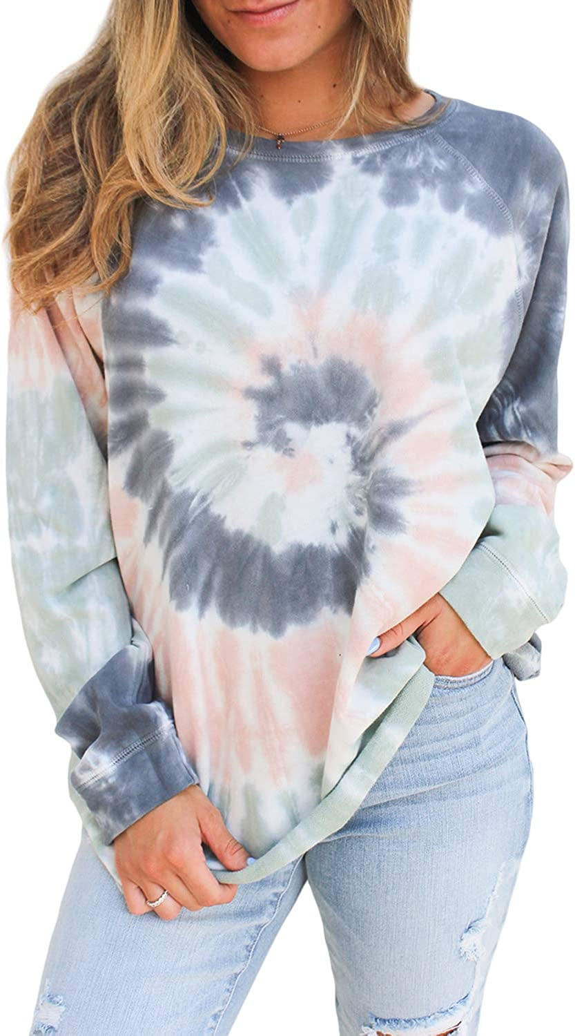 FARYSAYS Women's Casual Color Block Tie Dye Crewneck Long Sleeve Loose Pullover Sweatshirt Tops