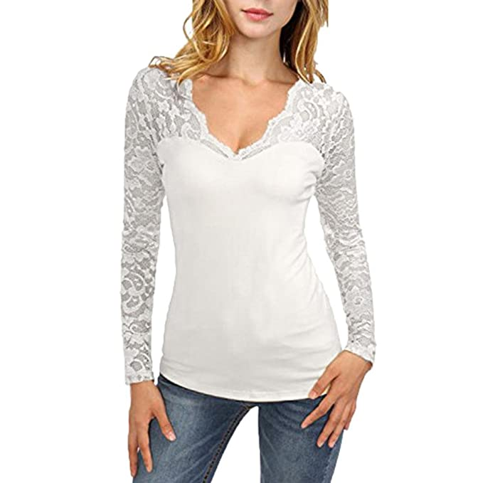 Camiseta de manga larga con cuello en V y costura en encaje par cuello alto para