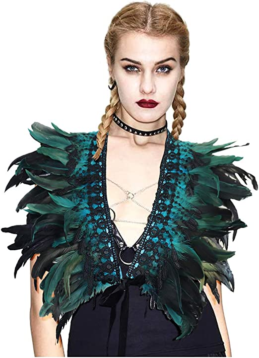 Black Feather Hand Me Collar Cape Shawls Wrap Fringe Party Evening Dress AD