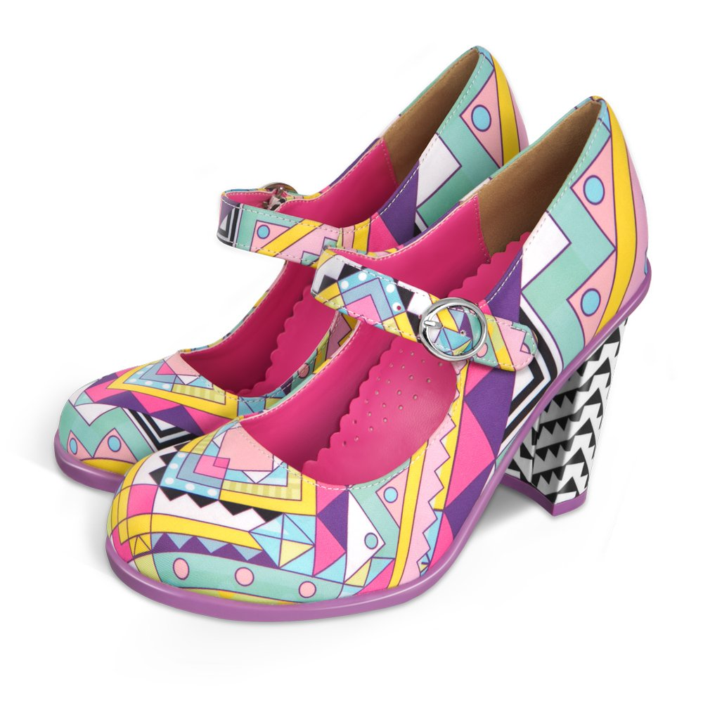 Hot Chocolate Design Chocolaticas High Heels Geometric Women's Mary Jane Pump B010OLRD8G 8 B(M) US Multicoloured