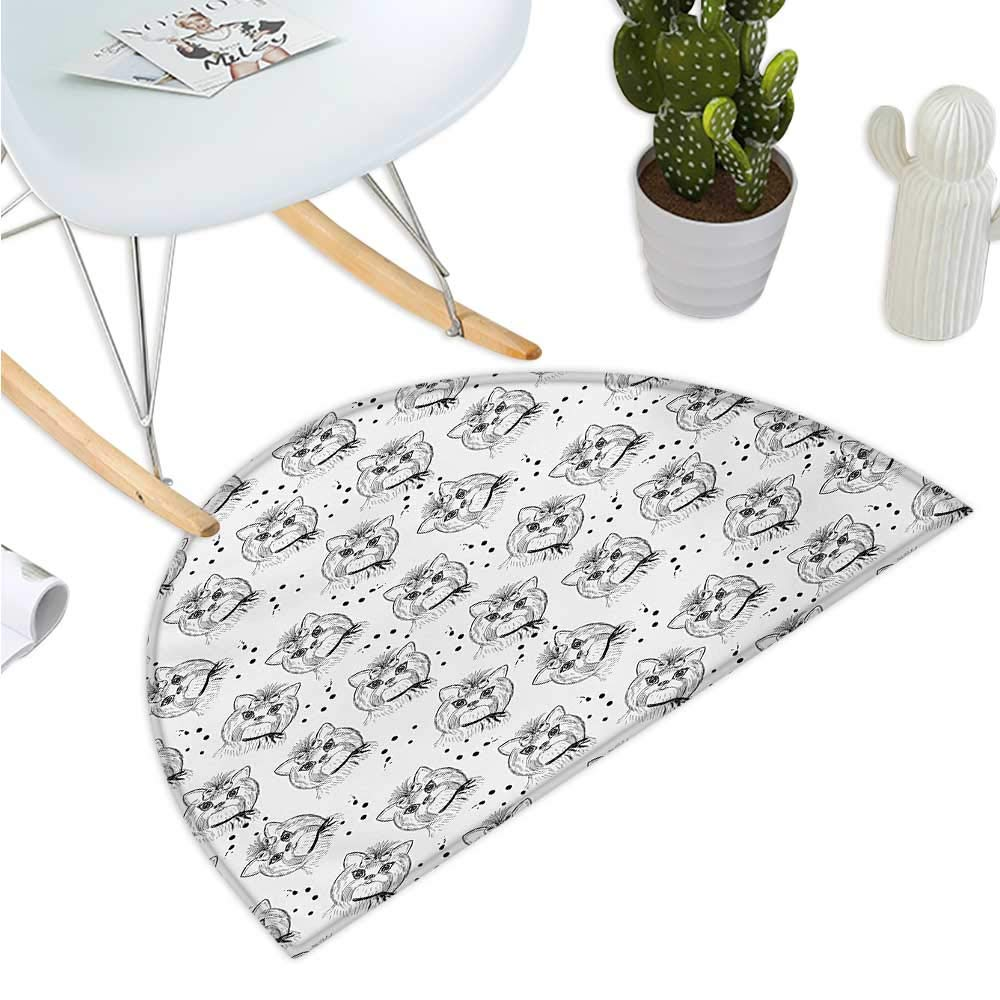 color07 H 35.4\ color07 H 35.4\ Black and White Semicircle Doormat Cute Dog Pattern with Buckle and Collar Monochrome House Pet Illustration Halfmoon doormats H 35.4  xD 53.1  Black White