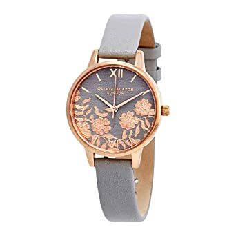 5be986fa4 Image Unavailable. Image not available for. Color: Olivia Burton Lace  Detail Grey Dial Ladies Watch OB16MV58