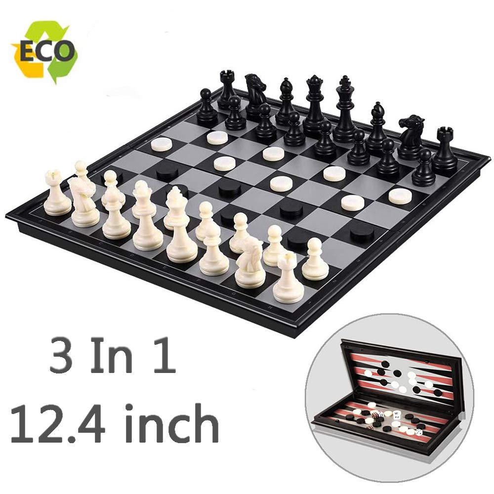 Magnetic Chess Set for Kids and Adults, 12.4 inch Travel Portable Folding Chess Sets Game Board with 3 in 1 Chess Checkers and Backgammon Best Gifts for Children by Joneytech
