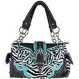 Zebra Stripe Rhinestone Crown Buckle Concealed Carry Pocket Handbag Blue