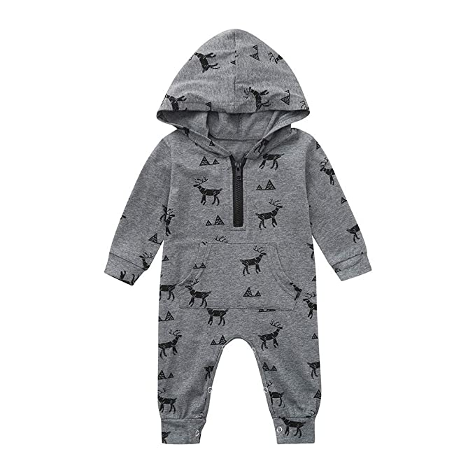 c71ba5794 Outtop(TM) Newborn Baby Boys Girls Cartoon Deer Print Hooded Romper  Jumpsuit Clothes Outfit: Amazon.in: Clothing & Accessories