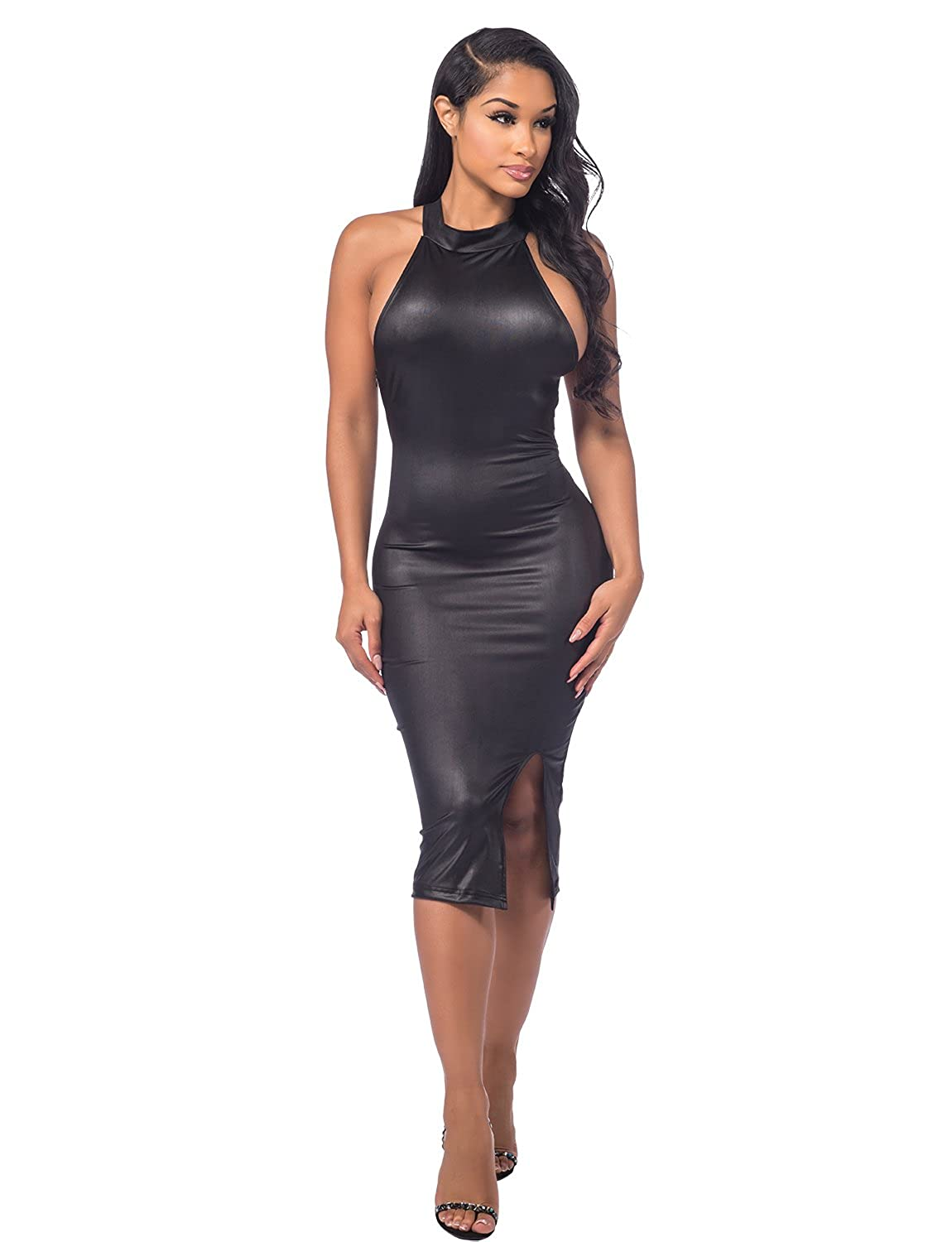 Sedrinuo Womens Pu Leather Sleeveless Bodycon Backless Party Bandage Dresses
