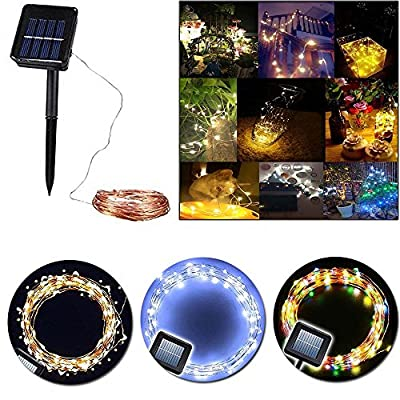 solar string lights,XFT-CK 33ft/10m 100 LEDs Outdoor/Indoor Starry String Lights, Copper Wire Light Waterproof Solar Fairy String Lights for Outdoor Landscape Patio Garden Camping Christmas Party Wedding