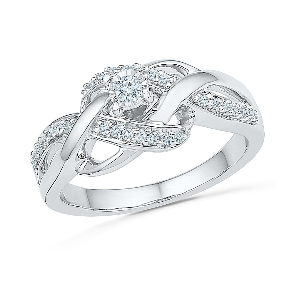 Sterling Silver White Round Diamond Promise Ring (1/5 cttw) by D-GOLD