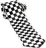 Mens Black & White Check Chequered SKA Polyester Skinny Neck Tie