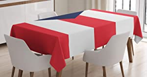 Lunarable Puerto Rico Tablecloth, Flag of a Nation Caribbean Country United States Land Stripes, Rectangular Table Cover for Dining Room Kitchen Decor, 52
