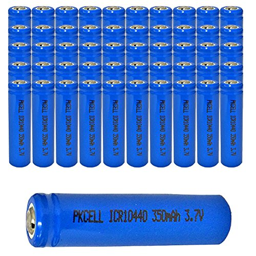 50Pcs AAA 3.7V 350 mAh ICR10440 Rechargeable Li-ion Battery Button Top by PK Cell