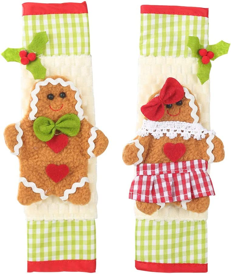 Happyyami 2pcs Christmas Handle Covers Refrigerator Door Handle Protector Christmas Gingerbread Decoration for Fridge Kitchen Microwave Dishwasher Decorations