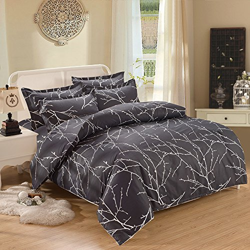 Wake In Cloud - Branches Duvet Cover Set, Dark Gray Grey Charcoal with Tree Pattern Printed, Soft Microfiber Bedding with Zipper Closure (3pcs, Queen Size)