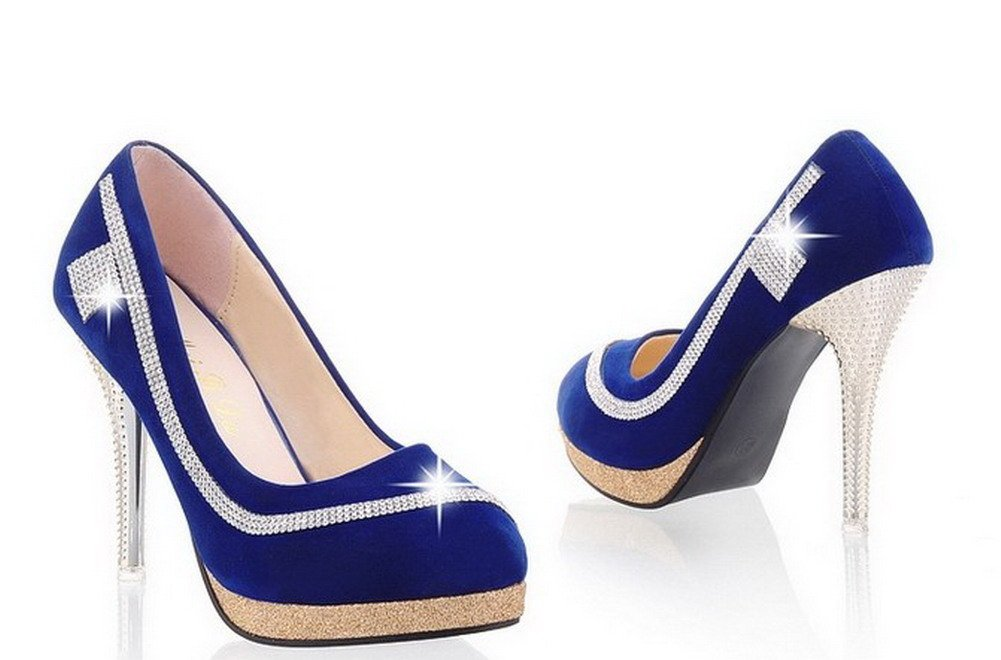 VogueZone009 Womens Closed Round Toe High Heel Stiletto Frosted PU Solid Pumps with Glass Diamond, Blue, 7.5 B(M) US