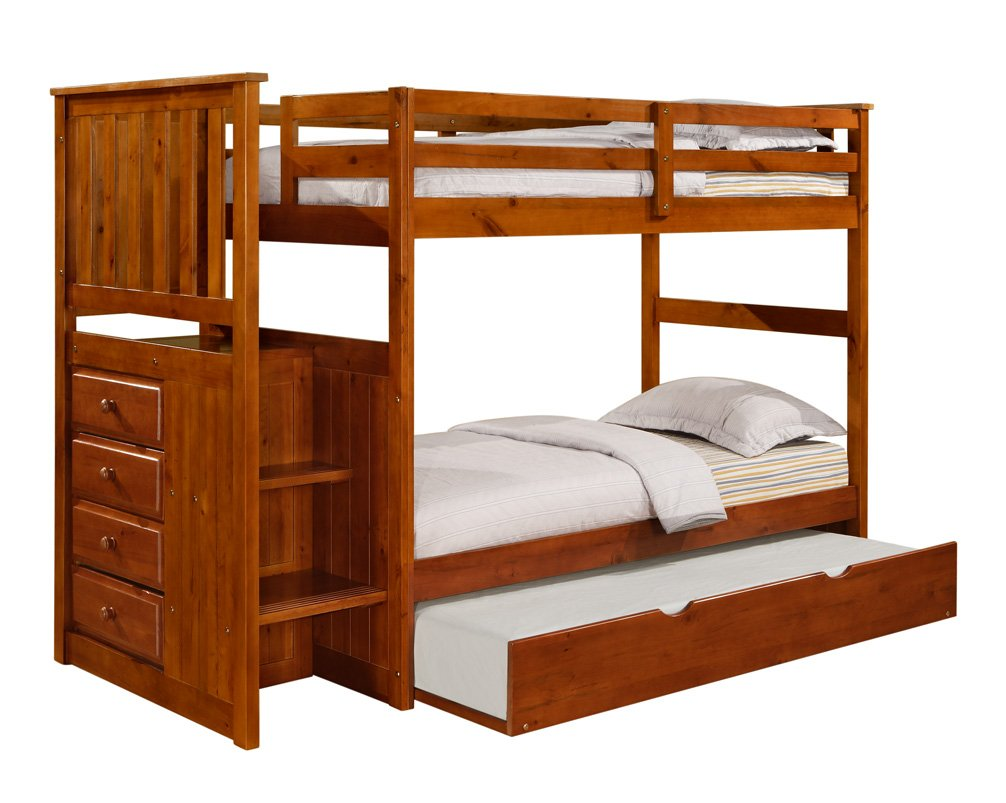 Amazon: Mission Stairway Bunk Bed With Trundle  Espresso: Kitchen &  Dining