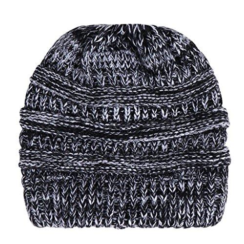 Yezijin Women Baggy Warm Crochet Winter Wool Knit Ski Beanie Skull Slouchy Caps Hat (Black) ()