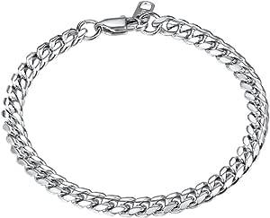 Men Figaro Chain Bracelet for Men 18K Gold Plated Stainless Steel/Black Hand Wrist Link Jewelry for Women, 6mm Width 19CM/21CM Two Sizes