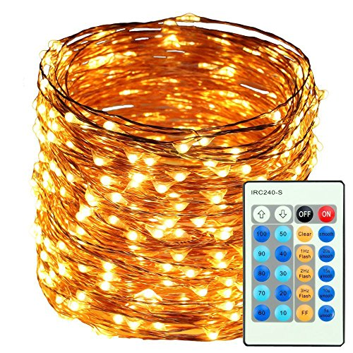 Indoor String Lights, 500LED 50M 165ft Christmas Lights, 24 Button Dimmable Copper Wire Lights Waterproof Silver Rope Lights for Garden/Homes/Patio/Wedding/Party/Christmas/Halloween (Warm White)